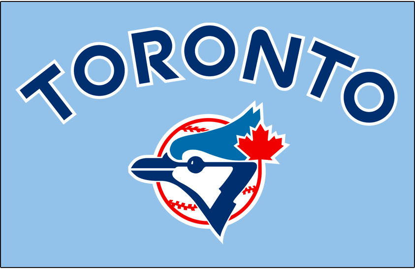 Toronto Blue Jays Logo Jersey Logo (1978) - Toronto arched in blue letters outlined in white on powder blue centered above the team logo. Worn on the Toronto Blue Jays road jerseys during the 1978 season only. SportsLogos.Net