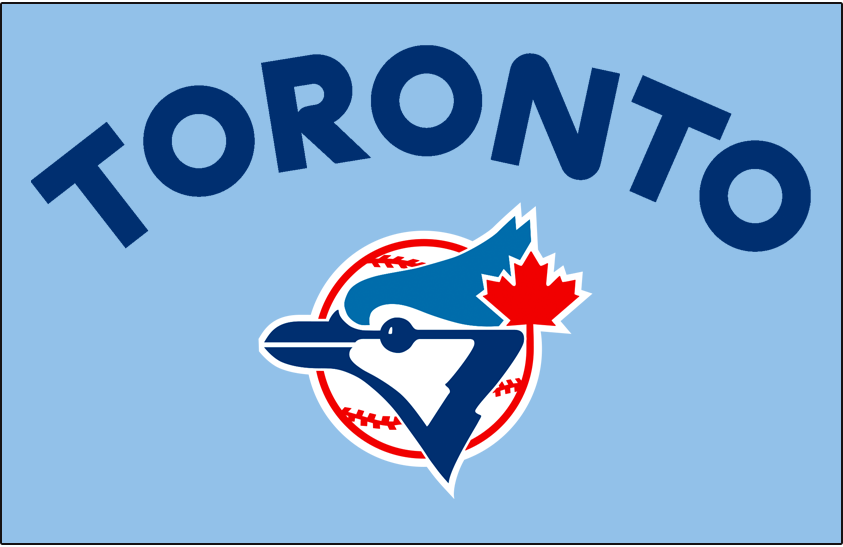 Toronto Blue Jays Logo Jersey Logo (1977) - Toronto in navy blue rounded letters arched over the team logo on a powder blue background. Worn on front of Toronto Blue Jays road jersey for their inaugural 1977 season only SportsLogos.Net