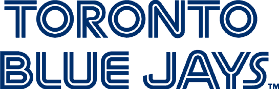 Toronto Blue Jays Logo Wordmark Logo (1977-1996) - Toronto Blue Jays in blue with a thin white inline SportsLogos.Net