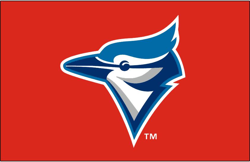 Toronto Blue Jays Logo Batting Practice Logo (1999) - A Blue Jay head on red, worn on the Toronto Blue Jays batting practice caps for the 1999 season only SportsLogos.Net