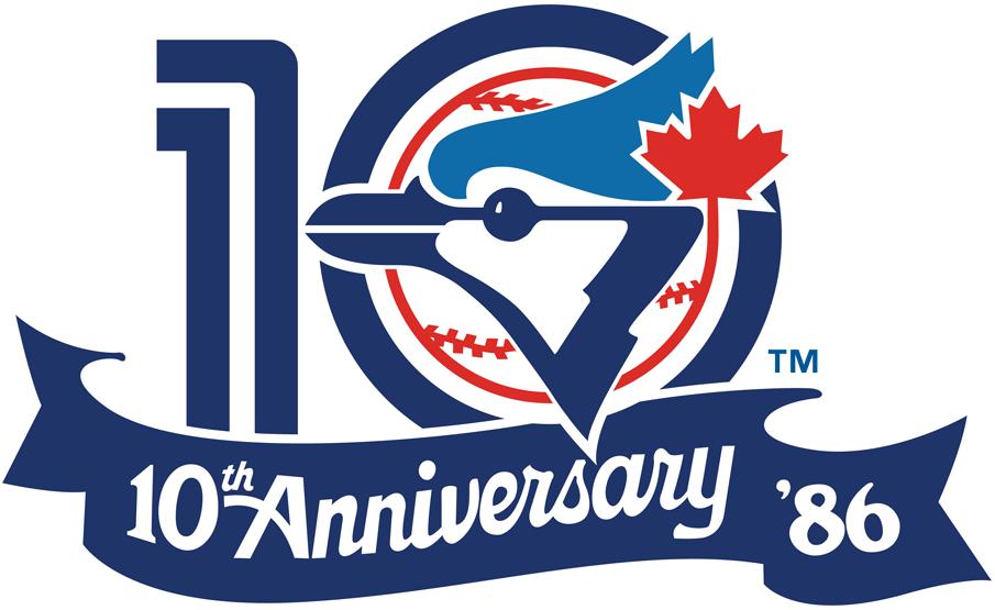 Toronto Blue Jays Logo Anniversary Logo (1986) - 10th Anniversary of the Toronto Blue Jays SportsLogos.Net