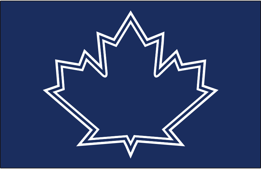 Toronto Blue Jays Logo Batting Practice Logo (2017) - Blue maple leaf outlined in white on blue, worn on Blue Jays Spring caps in 2017 and also officially listed as an alternate batting practice cap for 2017 SportsLogos.Net