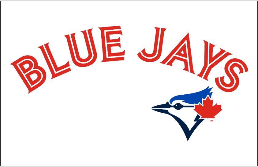 Toronto Blue Jays Logo Special Event Logo (2015) - BLUE JAYS in red and white above Jays primary logo on a white jersey. Worn on Toronto Blue Jays Canada Day jersey in 2015 SportsLogos.Net