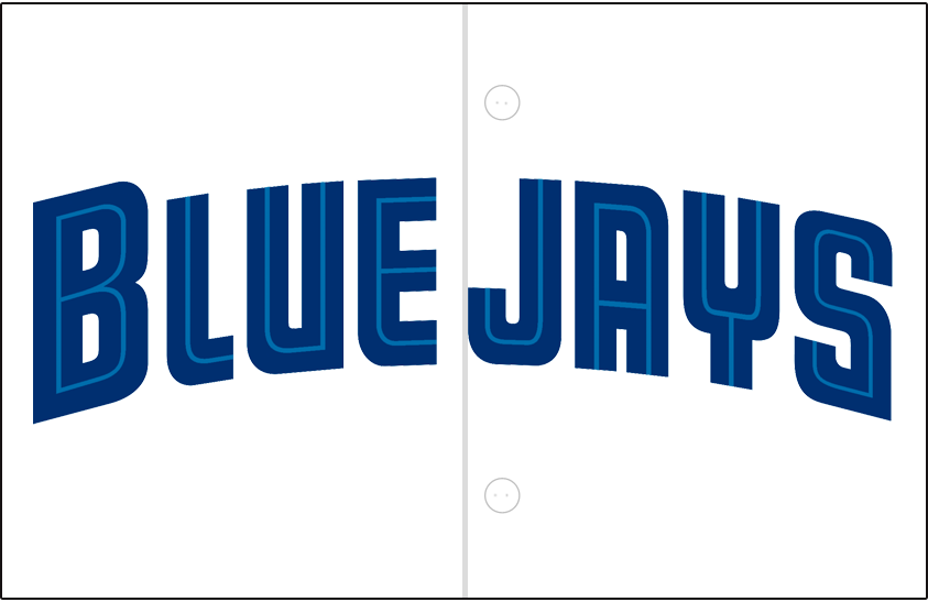 Toronto Blue Jays Logo Jersey Logo (1997-2000) - Blue Jays arched in blue with a thin teal inline on white, worn on the Blue Jays home jersey from 1997 to 2000. Blue piping was added in 2001 SportsLogos.Net