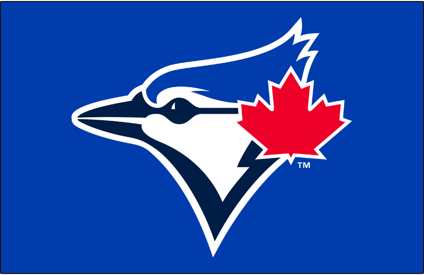 Toronto Blue Jays Logo Primary Dark Logo (2020-Pres) - Blue jay bird head in navy and royal blue with a large red maple leaf off to the side on royal blue SportsLogos.Net