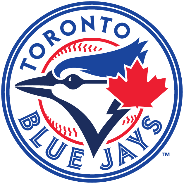 Toronto Blue Jays Logo Primary Logo (2012-2019) - Blue and navy blue blue jay head with red maple leaf to the right on a baseball with split-lettered team script surrounding it within a blue double-outline SportsLogos.Net