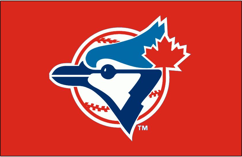 Toronto Blue Jays Logo Special Event Logo (1996) - Blue Jays logo on a red cap, worn on the Toronto Blue Jays Canada Day caps on July 1, 1996 SportsLogos.Net