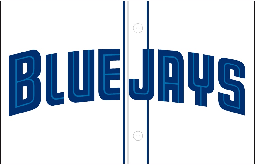 Toronto Blue Jays Logo Jersey Logo (2001-2003) - Blue Jays arched in blue split lettering with a light blue inline on a white jersey with blue piping, worn on front of Blue Jays home jersey from 2001 to 2003 SportsLogos.Net