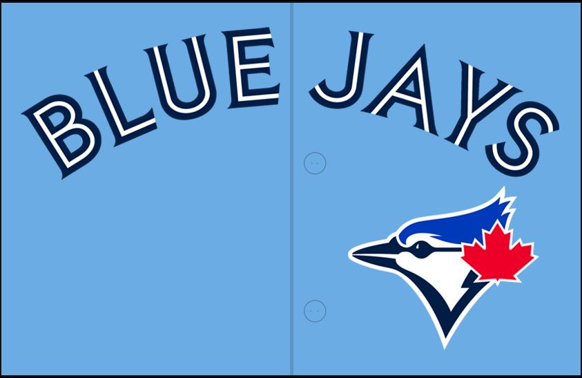 Toronto Blue Jays Logo Jersey Logo (2020-Pres) - Blue Jays arched in navy blue split-style lettering above team logo, worn on team's alternate powder blue jersey SportsLogos.Net