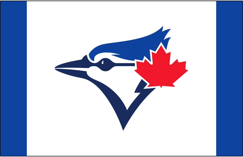 Toronto Blue Jays Logo Cap Logo (2015-2019) - Blue Jays usual cap logo on a blue cap with white front panel, first worn as a one-time only cap in 2015, worn a handful of times in 2016, then made an official alternate cap in 2017 SportsLogos.Net