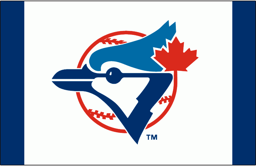 Toronto Blue Jays Logo Cap Logo (2008-2010) - A Blue Jay head on a red and white baseball with a red maple leaf on white SportsLogos.Net
