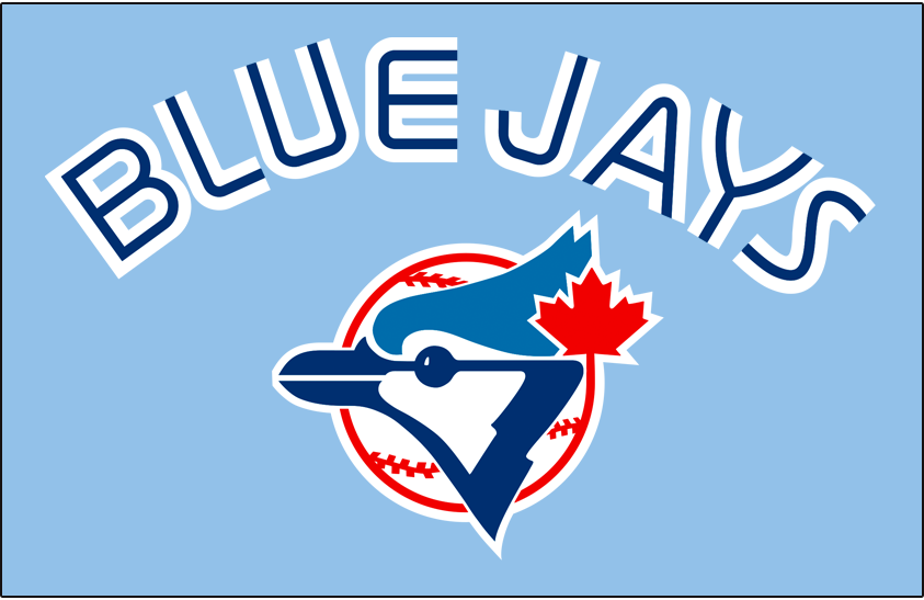 Toronto Blue Jays Logo Jersey Logo (1984-1988) - Blue Jays in white with a thin blue inline above primary logo on powder blue, worn on Toronto's road uniforms from 1984-1988. SportsLogos.Net