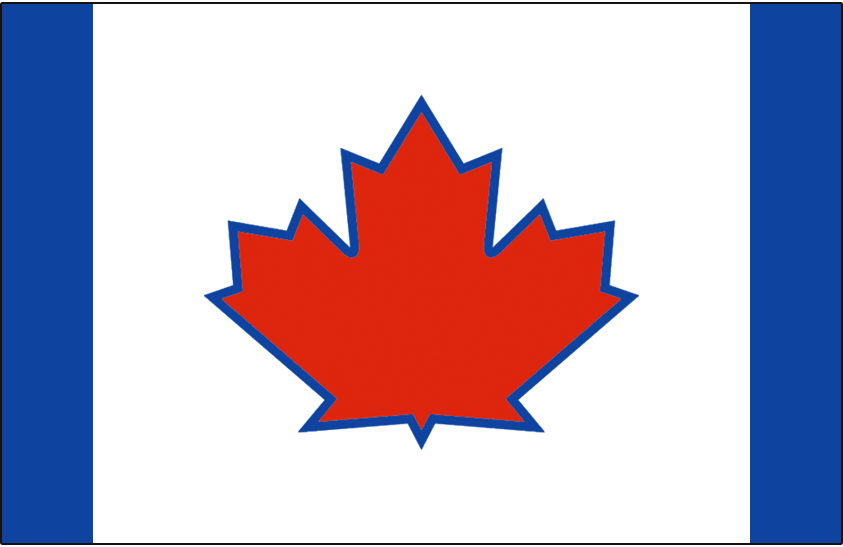 Toronto Blue Jays Logo Batting Practice Logo (2018-2019) - Red maple leaf with blue outline on blue cap with white front panel -- Toronto Blue Jays batting practice and spring training cap beginning in 2018 SportsLogos.Net