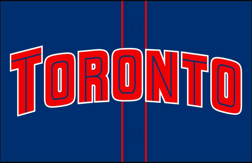 Toronto Blue Jays Logo Jersey Logo (2001-2003) - Blue Jays arched in red split lettering with a blue inline on a blue jersey with red piping, worn on front of Blue Jays alternate jersey from 2001 to 2003 SportsLogos.Net