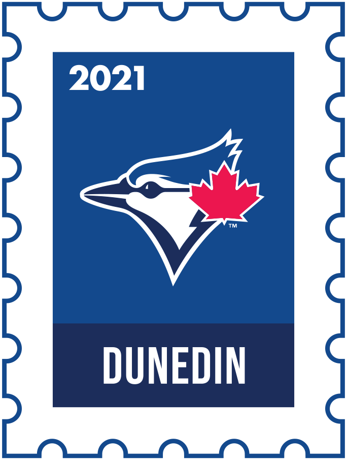 Toronto Blue Jays Logo Event Logo (2021) - The Toronto Blue Jays 2021 Spring Training logo, the design follows a league-wide style using a postage stamp in team colours with the team logo in the middle. SportsLogos.Net