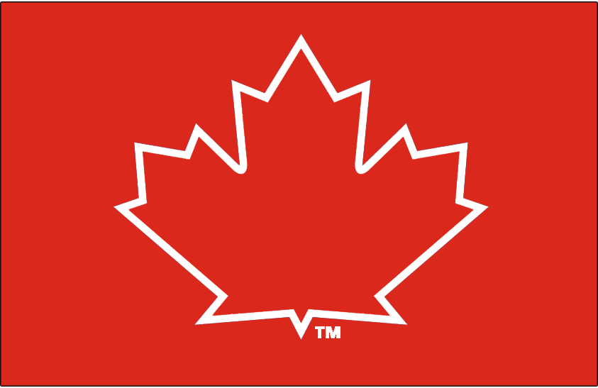 Toronto Blue Jays Logo Cap Logo (2017-2019) - A red maple leaf with a white outline on a red cap, first worn on the Toronto Blue Jays alternate batting practice caps in the 2014 season and promoted to the Jays alternate red Canada uniform for 2017 SportsLogos.Net