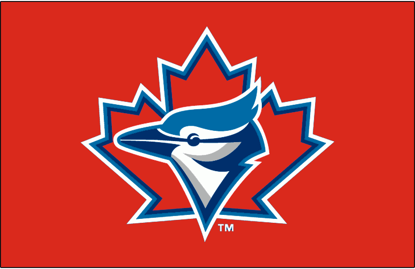 Toronto Blue Jays Logo Special Event Logo (1997-2002) - Blue Jays logo on a red cap, worn once a season on the Toronto Blue Jays Canada Day caps from 1997-2002 SportsLogos.Net