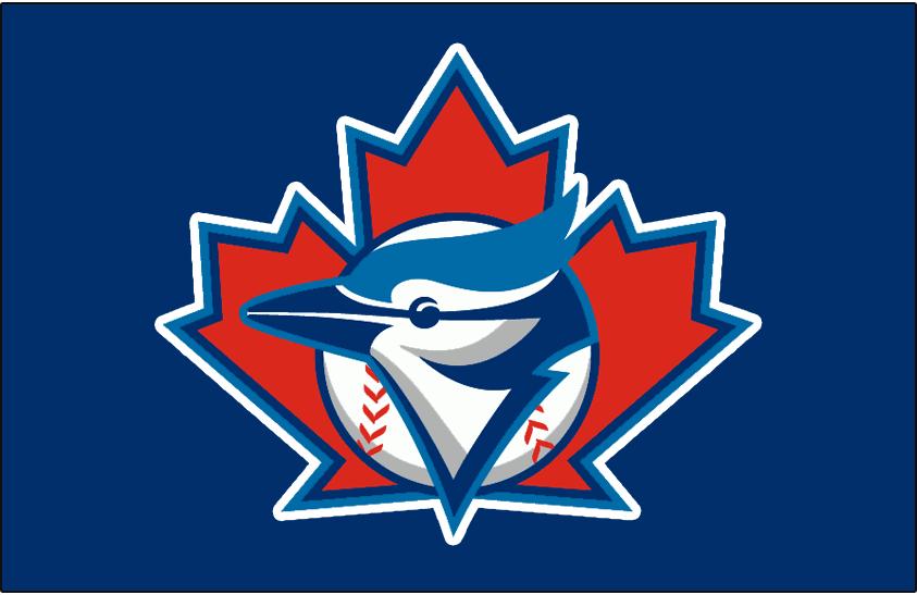 Toronto Blue Jays Logo Batting Practice Logo (1997-2000) - Blue Jays logo with large maple leaf outlined in white on a blue background. Worn on Toronto Blue Jays batting practice jerseys from 1997-2000 SportsLogos.Net