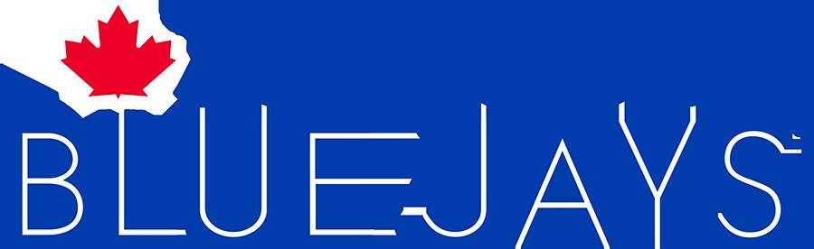 Toronto Blue Jays Logo Wordmark Logo (2020-Pres) - Toronto Blue Jays in split-style royal blue letters with a red maple leaf SportsLogos.Net