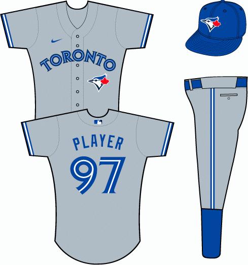 Toronto Blue Jays Uniform Road Uniform (2020-Pres) - TORONTO arched in blue over the team's primary logo on a grey uniform SportsLogos.Net