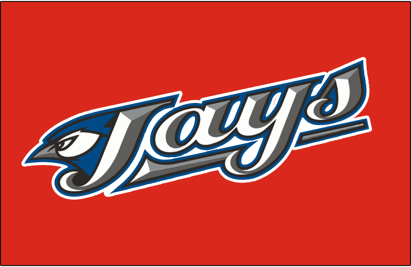 Toronto Blue Jays Logo Special Event Logo (2009-2011) - Jays primary logo going diagonally up on a red background, this was worn on the Toronto Blue Jays Canada Day uniforms in 2009 and 2011 - NOTE: This was not worn in 2010 as the Toronto Blue Jays were on the road for Canada Day that season. SportsLogos.Net