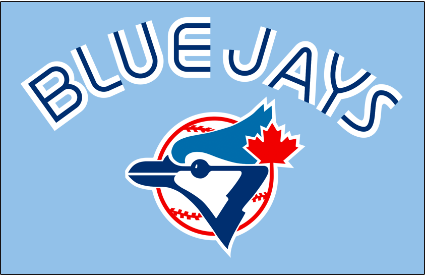 Toronto Blue Jays Logo Jersey Logo (1979-1983) - BLUE JAYS arched in white split-style lettering above the team logo on a powder blue jersey, worn as Blue Jays road uniform from 1979 to 1983 SportsLogos.Net