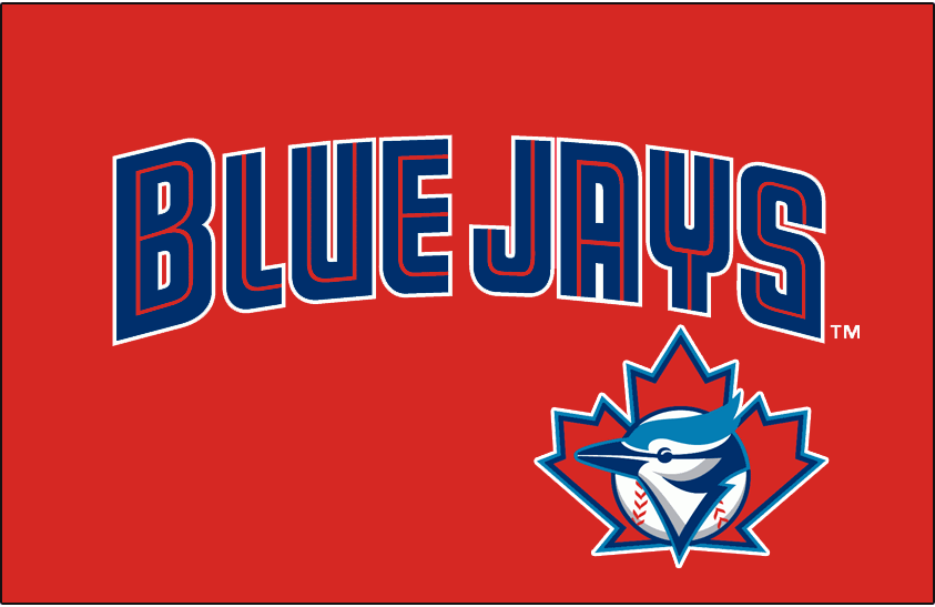 Toronto Blue Jays Logo Special Event Logo (2001) - Blue Jays in blue and red split lettering with white trim above Blue Jays logo all on red. Worn only once for the Toronto Blue Jays Canada Day game during the 2001 season SportsLogos.Net