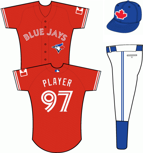 Toronto Blue Jays Uniform Special Event Uniform (2013) - Red uniform with BLUE JAYS arched across the front in white and red split lettering, Canadian flag on left sleeve.  Player name on back of jersey with number in similar split lettering fashion.  Blue Jays batting practice cap, a red maple leaf on white and blue, worn with this jersey. SportsLogos.Net