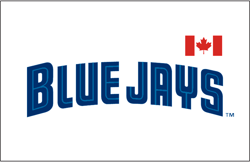 Toronto Blue Jays Logo Special Event Logo (1999) - Blue Jays wordmark in blue and light blue split lettering with a Canadian flag above the AYS in Jays. Worn on the front of the Blue Jays jerseys for their Canada Day game during the 1999 season SportsLogos.Net