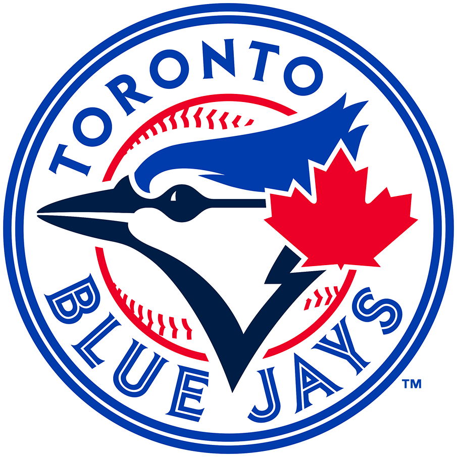 Toronto Blue Jays Logo Alternate Logo (2020-Pres) - Blue jay bird head in navy and royal blue with a large red maple leaf off to the side inside a red baseball with team name in royal blue in a circle SportsLogos.Net