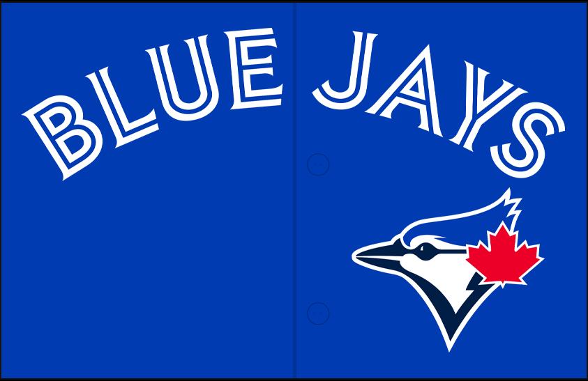 Toronto Blue Jays Logo Jersey Logo (2020-Pres) - Blue Jays arched in white split-style lettering above team logo, worn on team's alternate royal blue jersey SportsLogos.Net