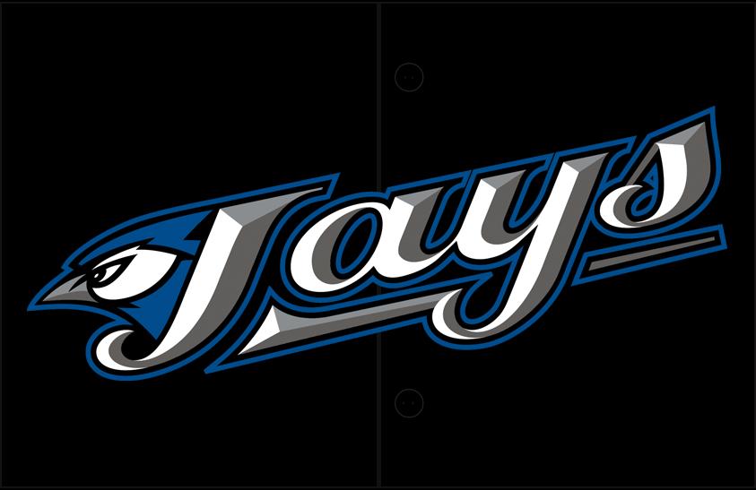 Toronto Blue Jays Logo Jersey Logo (2004-2011) - (Alternate) Primary logo slanted up on black SportsLogos.Net