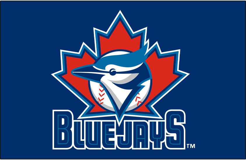 Toronto Blue Jays Logo Primary Dark Logo (1997-2002) - Toronto Blue Jays primary Logo on blue SportsLogos.Net