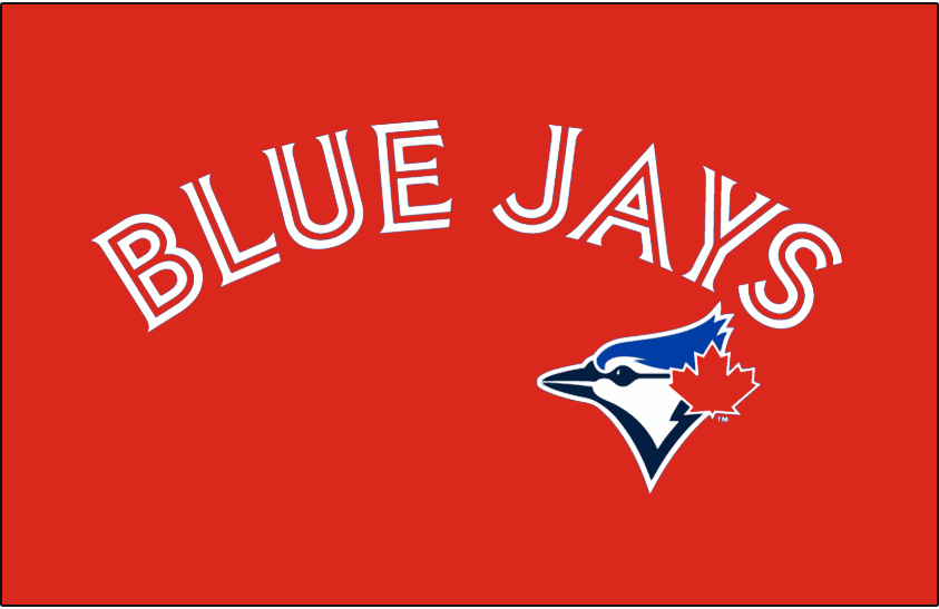 Toronto Blue Jays Logo Special Event Logo (2016) - Blue Jays in white and red split letters arched above the Blue Jays logo on a red base, worn on the Toronto Blue Jays Canada Day jerseys starting in 2012, and on the Baseball Canada jerseys in 2013 and 2014. Brought back again for 2016 season SportsLogos.Net