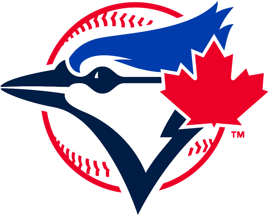 Toronto Blue Jays Logo Alternate Logo (2020-Pres) - Blue jay bird head in navy and royal blue with a large red maple leaf off to the side inside a red baseball SportsLogos.Net