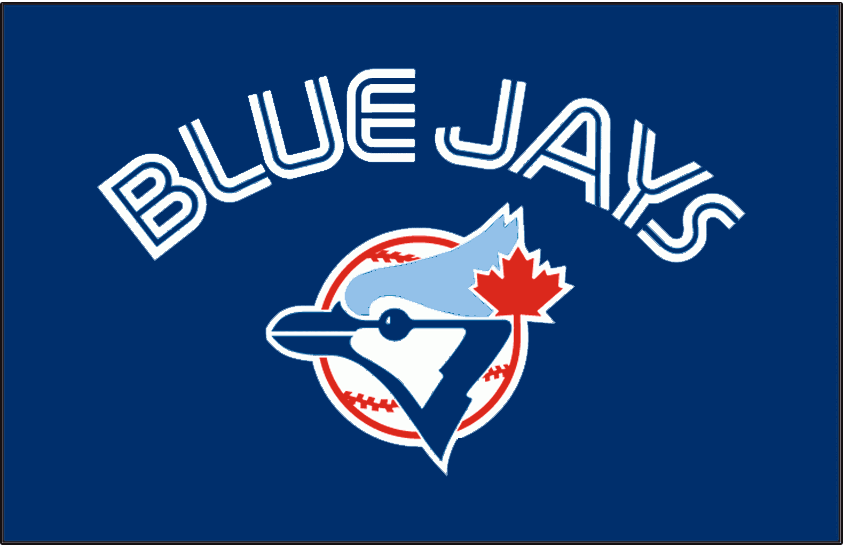 Toronto Blue Jays Logo Batting Practice Logo (1982-1996) - Blue Jays arched in white and blue split lettering on a blue background centred above the blue jay head logo. Worn on Toronto Blue Jays batting practice jerseys from 1982-1996 SportsLogos.Net