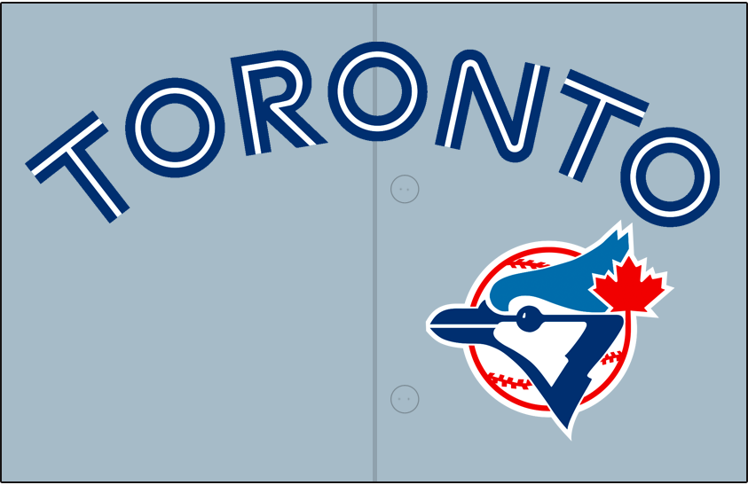 Toronto Blue Jays Logo Jersey Logo (1989-1991) - Toronto arched in blue and white split lettering on grey with blue jay head logo below. Worn on Toronto Blue Jays road jerseys from 1989-1991, shade of grey was tweaked for the 1992 season. SportsLogos.Net