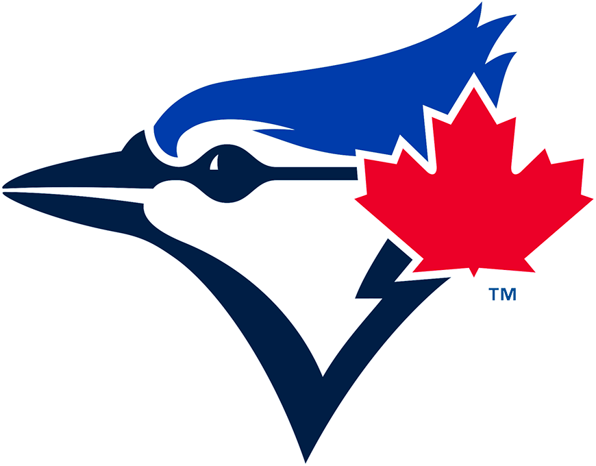 Toronto Blue Jays Logo Primary Logo (2020-Pres) - Blue jay bird head in navy and royal blue with a large red maple leaf off to the side SportsLogos.Net