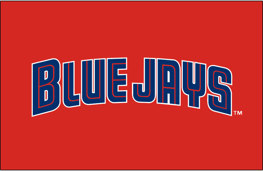 Toronto Blue Jays Logo Special Event Logo (2002) - Blue Jays in blue and red split lettering on red, worn on Blue Jays Canada Day jerseys in the 1997 and 2002 seasons SportsLogos.Net