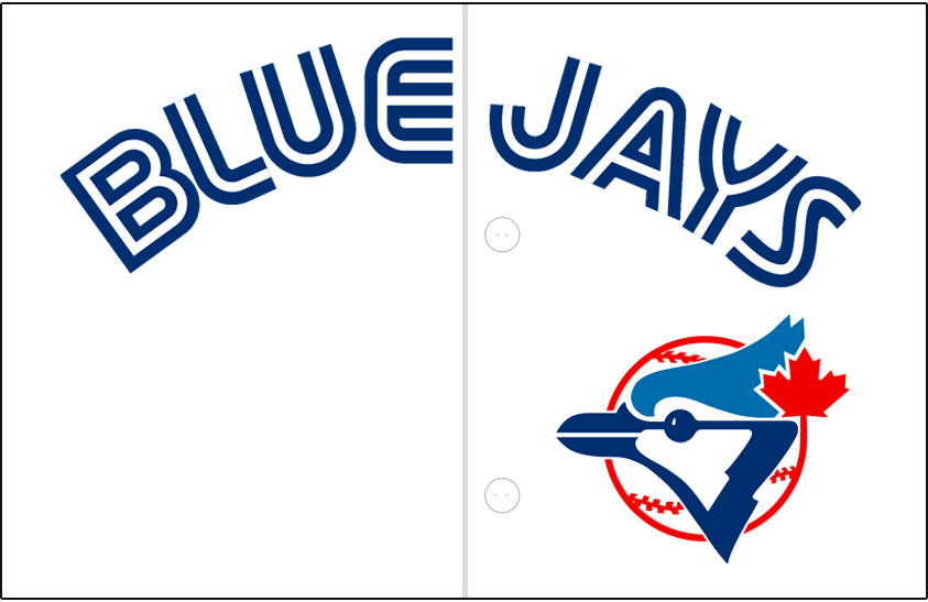 Toronto Blue Jays Logo Jersey Logo (1989-1996) - Blue Jays arched in blue and white split lettering on white with blue jay head logo below. Worn on Toronto Blue Jays home jerseys from 1989-96 SportsLogos.Net