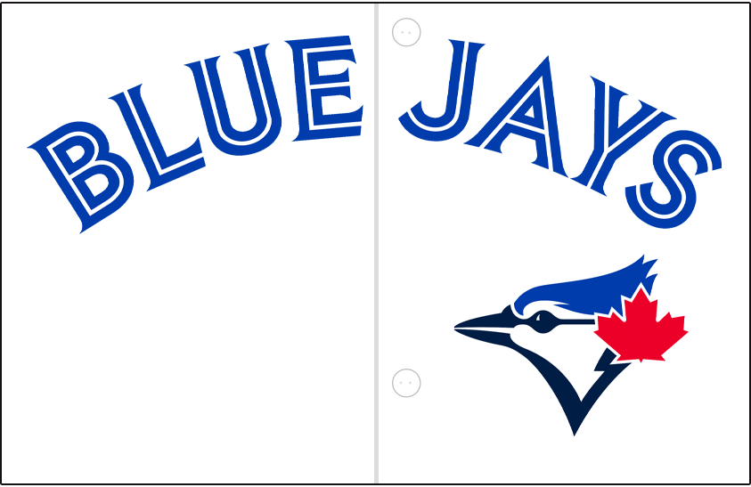 Toronto Blue Jays Logo Jersey Logo (2020-Pres) - Blue Jays arched in royal blue split-style lettering above team logo, worn on team's home white jersey SportsLogos.Net