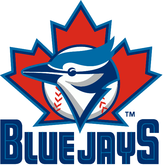 Toronto Blue Jays Logo Primary Logo (1997-2002) - A Blue Jay head on a baseball over a maple leaf above team name SportsLogos.Net