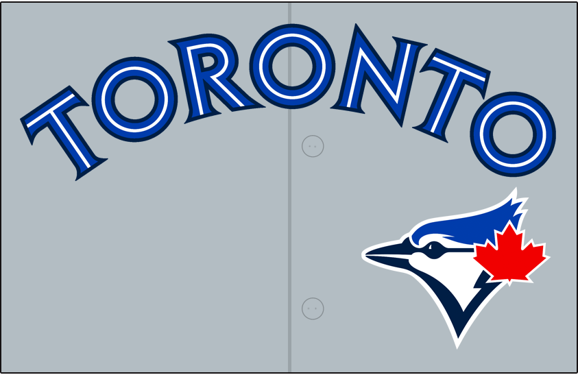 Toronto Blue Jays Logo Jersey Logo (2012-2013) - Toronto in blue and white spilit lettering with a navy blue outline on grey, blue jay head logo below and to the (player's) left. Worn on Toronto Blue Jays road uniform beginning with the 2012 season. SportsLogos.Net