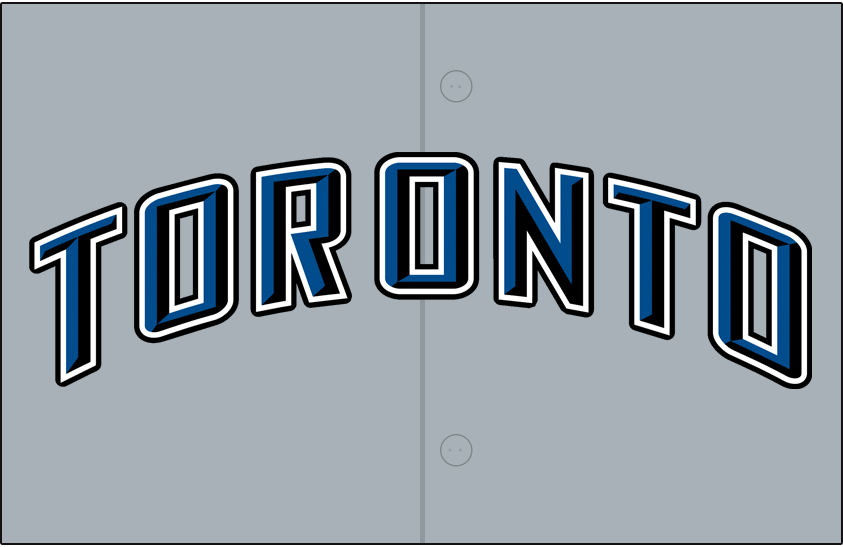 Toronto Blue Jays Logo Jersey Logo (2008-2011) - (Road) Toronto arched in blue with black beveling and white and black outlines on grey SportsLogos.Net
