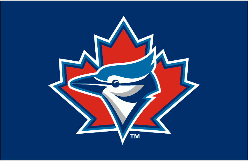 Toronto Blue Jays Logo Cap Logo (1997-2002) - A Blue Jay head on a red maple leaf with blue and white outlines on blue SportsLogos.Net