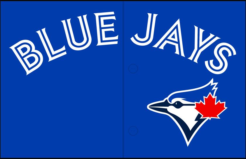 Toronto Blue Jays Logo Jersey Logo (2012-2019) - Blue Jays arched in blue and white split lettering on blue above the blue jay head logo, worn on Toronto Blue Jays alternate jerseys beginning with the 2012 season SportsLogos.Net