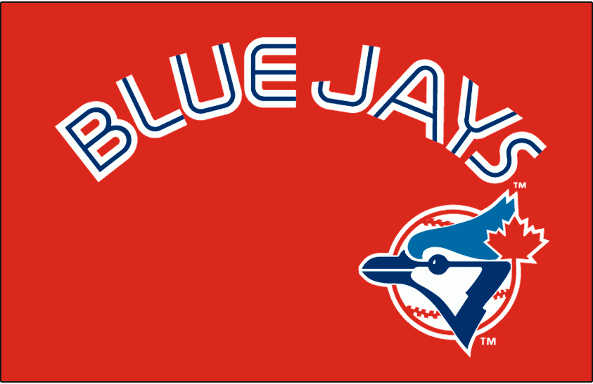 Toronto Blue Jays Logo Special Event Logo (1996) - (Canada Day) Blue Jays in white with a thin blue inline above primary logo on red SportsLogos.Net
