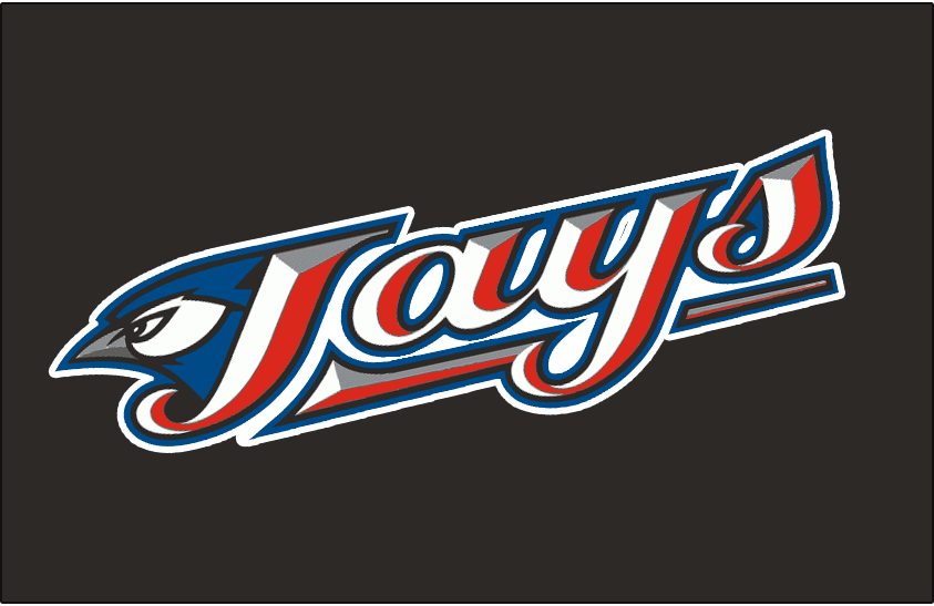 Toronto Blue Jays Logo Special Event Logo (2006) - (Canada Day) Primary logo with red beveling slanted up on black SportsLogos.Net
