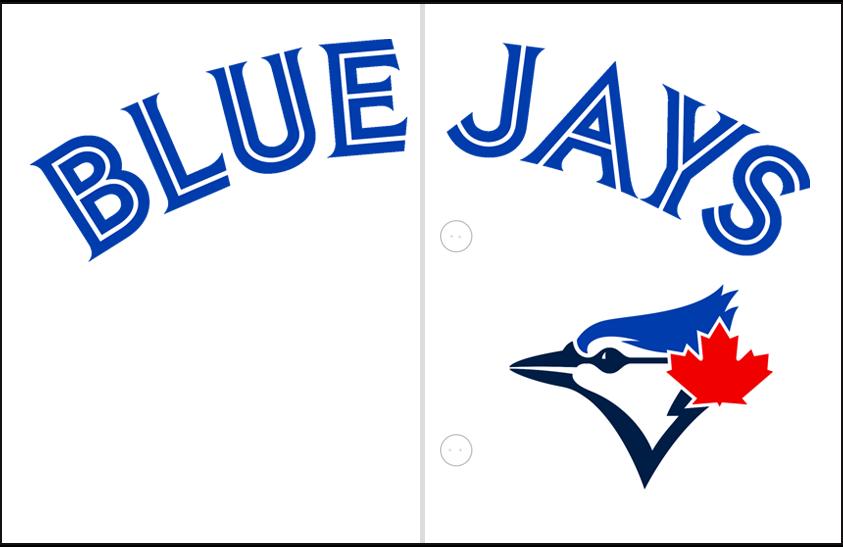 Toronto Blue Jays Logo Jersey Logo (2012-2019) - Blue Jays in blue and white split lettering arched on white over the blue jay head logo. Worn on Toronto Blue Jays home jerseys beginning in 2012 SportsLogos.Net
