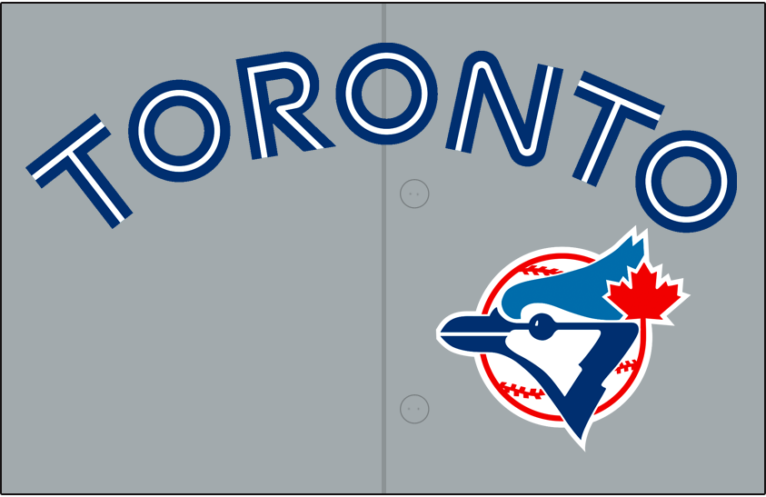Toronto Blue Jays Logo Jersey Logo (1992-1996) - Toronto arched in blue and white split lettering on grey with blue jay head logo below. Worn on Toronto Blue Jays road jerseys from 1992-96, shade of grey was tweaked for the 1992 season. SportsLogos.Net